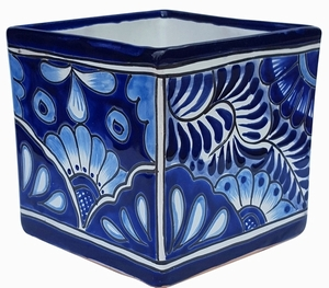 Talavera Cubo Blue/White - Square Cube Flowerpot |  Hand Painted | Made in Mexico | Talavera Pot