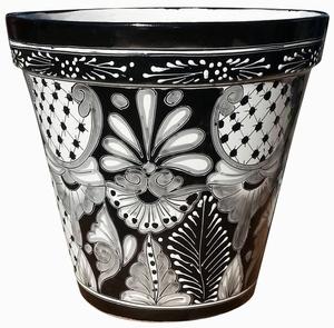 Talavera Vaso Black/White - Mexican Talavera Flower Pots in Black and White | Arizona Pottery