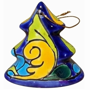 Set of 2 Talavera 3-D Tree Ornaments