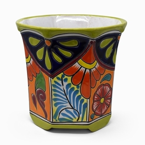 Talavera Octagon Lime Rim - Mexican flowerpots with bold bright colors | Home and Garden Pottery