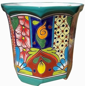 Talavera Octagon Traditional Turquoise - Octagon garden pot | Hand painted Talavera | Made in Mexico
