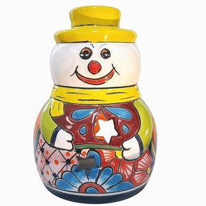 Talavera Snowman Luminary Yellow Hat