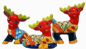 Set of 3 Talavera Reindeer Red