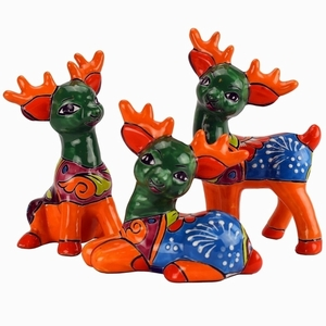 Set of 3 Talavera Reindeer Gold