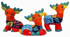 Set of 3 Talavera Reindeer Orange