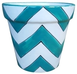 Talavera Vaso Chevron Pots Turq - Hand Painted, Blue and White Garden Pot from Mexico | ArizonaPottery