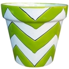 Talavera Vaso Chevron Pots Lime - Exclusive designed hand painted Talavera Pottery from Mexico