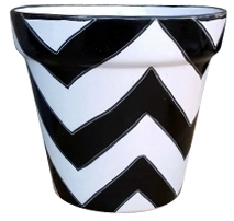 Talavera Vaso Chevron Pots Black - Hand Painted Talavera Garden Pottery & Planters | Black & White Pattern | Large Sizes | Decorative Flower Pots | Arizona Pottery