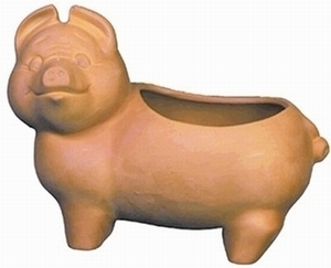 Mexican Terracotta Pig Planter - Pig shaped garden pot.  Real terracotta pot shaped like a pig.
