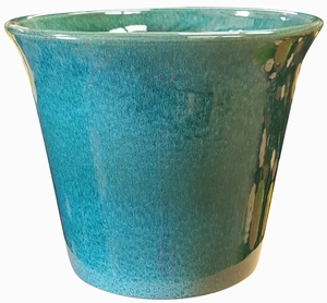 Spanish Garden Planter #62 Aqua Green - Aqua Green Gloss Garden Container | Colorful Flower Pots & Garden Pottery | Spanish Style Planters | Flared Top with Tapered Base Glazed Pot | Arizona Pottery