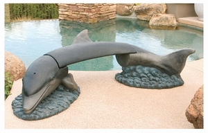 Decorative Garden Bench Dolphin