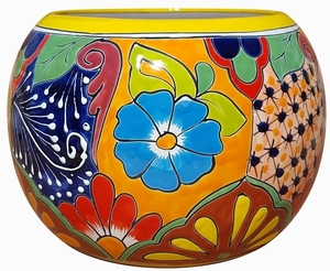 Talavera Round Bule Yellow Rim - Mexican Talavera Pots, Pottery, Flowerpots, Containers | Garden Planters | Arizona Pottery
