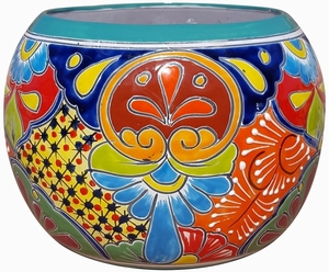 Talavera Round Bule Turquoise Rim - Mexican Talavera Pots, Pottery, Flowerpots, Containers | Garden Planters | Arizona Pottery