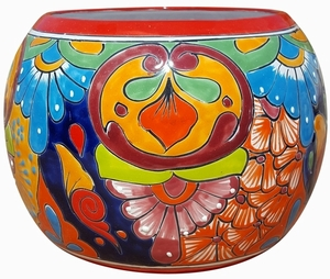 Talavera Round Bule Red Rim - Mexican Talavera Pots, Pottery, Flowerpots, Containers | Garden Planters | Arizona Pottery