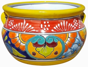 Talavera Low Chata Yellow - Mexican Talavera Pots, Pottery, Flowerpots, Containers | Garden Planters | Arizona Pottery