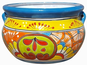 Talavera Low Chata Traditional Turq - Mexican Talavera Pots, Pottery, Flowerpots, Containers | Garden Planters | Arizona Pottery