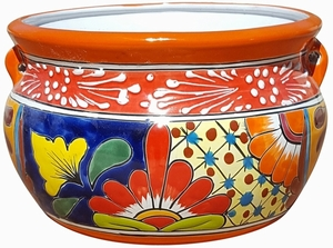 Talavera Low Chata Traditonal Orange - Mexican Talavera Pots, Pottery, Flowerpots, Containers | Garden Planters | Arizona Pottery