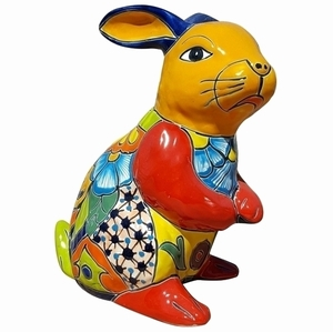 Talavera Rabbit Statue Yellow - Rabbit Shaped Flowerpot | Talavera Pottery | Hand Painted | Colorful Pottery from Arizona Pottery