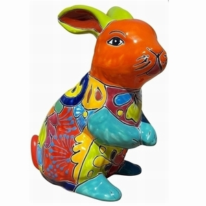Talavera Rabbit Statue Orange - Rabbit Shaped Flowerpot | Talavera Pottery | Hand Painted | Colorful Pottery from Arizona Pottery
