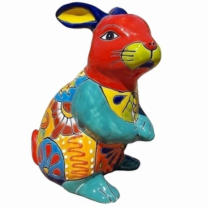 Talavera Conejo Prado Statue Red Face - Rabbit Shaped Flowerpot | Talavera Pottery | Hand Painted | Colorful Pottery from Arizona Pottery