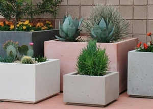 Concrete Modern Cube Pots - American Made | Concrete Planters & Pottery | Ships Nationwide  |  Arizona Pottery