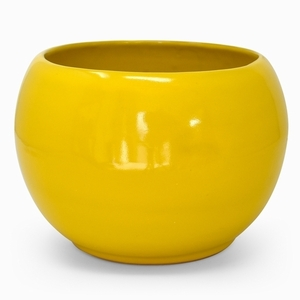 Round Pot Yellow - Glazed White Round shaped flowerpot, garden container, small pottery