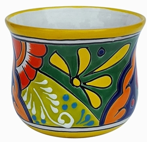Talavera Flair Tulipan Yellow Rim - Garden pottery shaped like a tulip. Hand painted Mexican Talavera