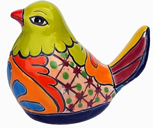 Talavera Fat Bird Lime Statue
