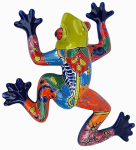 Talavera Frog Lime - Frog Wall Art | Made in Mexico | Colorful Hand Painted Talavera