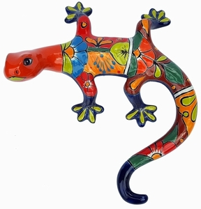 Talavera Gecko Orange - Gecko Wall Art | Made in Mexico | Colorful Hand Painted Talavera