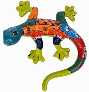 Talavera Gecko Turquoise - Gecko Wall Art | Made in Mexico | Colorful Hand Painted Talavera