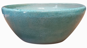 Garden Low Bowl #62 Aqua Green - Garden Bowls | High Shine Glossy Glaze | Colorful & Decorative Planters  | Perfect For Tabletop Display |  Many Sizes | Ships Nationwide | Arizona Pottery
