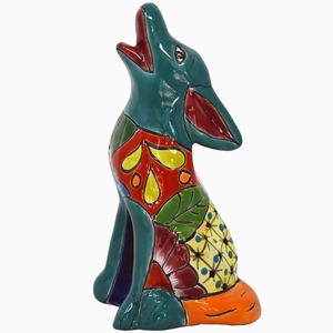 Talavera Coyote Turquoise - Coyote Statue | Hand Painted Talavera | Made in Mexico | Coyote