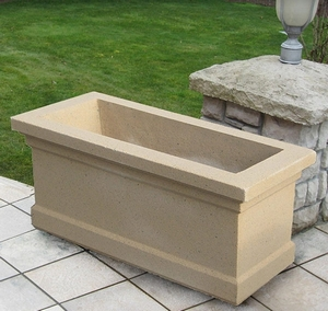Sandstone Cambridge Trough - Low Rectangle Garden Planter | Sandstone Pottery | 5 color choices | Ships Nationwide