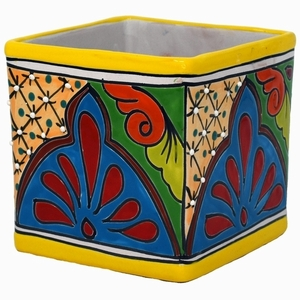 Talavera Cubo Yellow Rim - Square Colorful Talavera Flowerpot | Made in Mexico | Arizona Pottery