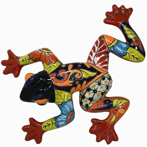 Talavera Frog Blue - Frog Wall Art | Made in Mexico | Colorful Hand Painted Talavera