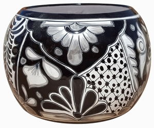 Talavera Round Bule Black/White - Round Flowerpots | Hand Painted Talavera | Made in Mexico | ColorfulMexican Talavera Pots, Pottery, Flowerpots, Containers | Garden Planters | Arizona Pottery