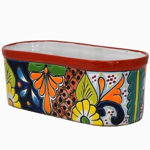 Talavera Oval Pot Red Rim - Oval Flowerpots | Hand Painted Talavera | Made in Mexico | Colorful Mexican Talavera Pots,Pots, Pottery, Flowerpots, Containers | Garden Planters | Arizona Pottery