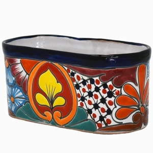 Talavera Oval Pot Blue Rim - Oval Flowerpots | Hand Painted Talavera | Made in Mexico | ColorfulMexican Talavera Pots, Pottery, Flowerpots, Containers | Garden Planters | Arizona Pottery