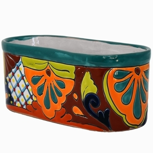 Talavera Oval Pot Turquoise Rim - Round Flowerpots | Hand Painted Talavera | Made in Mexico | ColorfulMexican Talavera Pots, Pottery, Flowerpots, Containers | Garden Planters | Arizona Pottery