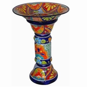 Talavera Bird Bath Blue Rim - Colorful Bird Bath | Talavera Hand Painted | Made in Mexico | Buy Now!