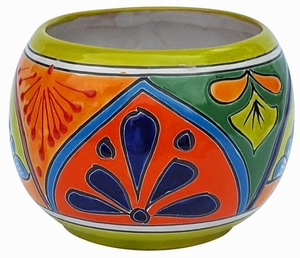 Talavera Round Bule Lime Rim - Round Garden Bowl | Hand Painted | Made in Mexico | Bold Bright Colors