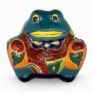 Talavera Frog Planter Turqoise - Coyote Statue | Hand Painted Talavera | Made in Mexico | Coyote
