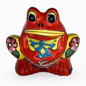 Talavera Frog Planter Red - Coyote Statue | Hand Painted Talavera | Made in Mexico | Coyote