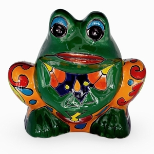 Talavera Frog Planter Green - Coyote Statue | Hand Painted Talavera | Made in Mexico | Coyote