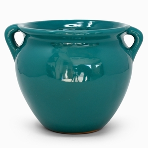 Michoacana Turquoise - Glazed White Round shaped flowerpot, garden container, small pottery