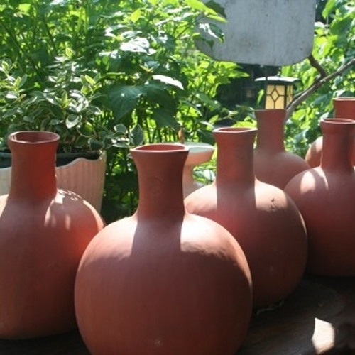 Handmade olla watering system drip irrigation arizona pottery - Water garden containers for sale ...