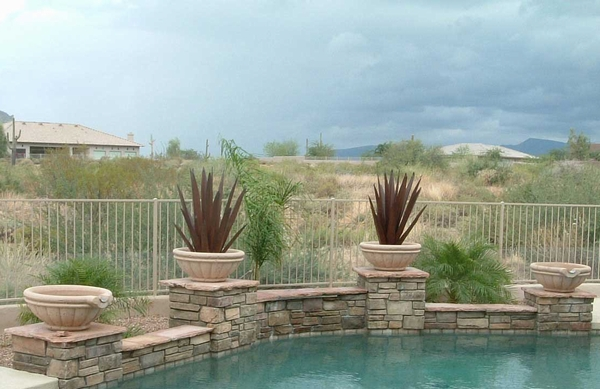 Swimming Pool Scuppers And Tuscany Pool Pots Arizona Pottery